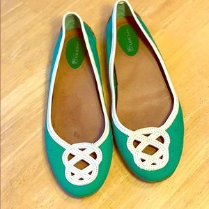 Sperry Green Canvas and White Leather Flats